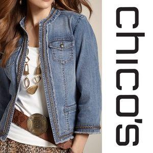 Chico's Chauncey Jean jacket Sz 0 (4)
